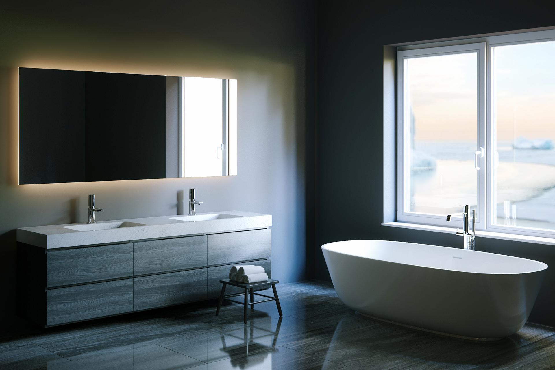 Festpreisbad Badideen Dunkles Bad mit Wandbeleuchtung 26