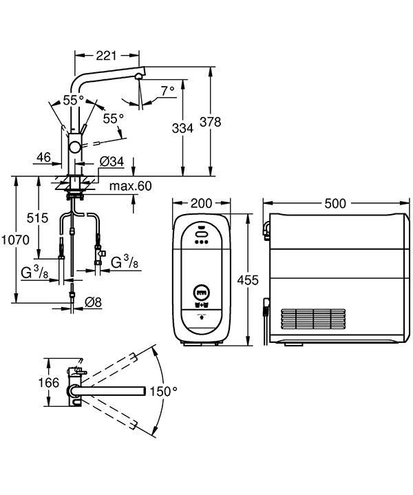 grohe blue home einhand sp ltischbatterie mit filterfunktion l auslauf starter kit festpreisbad. Black Bedroom Furniture Sets. Home Design Ideas