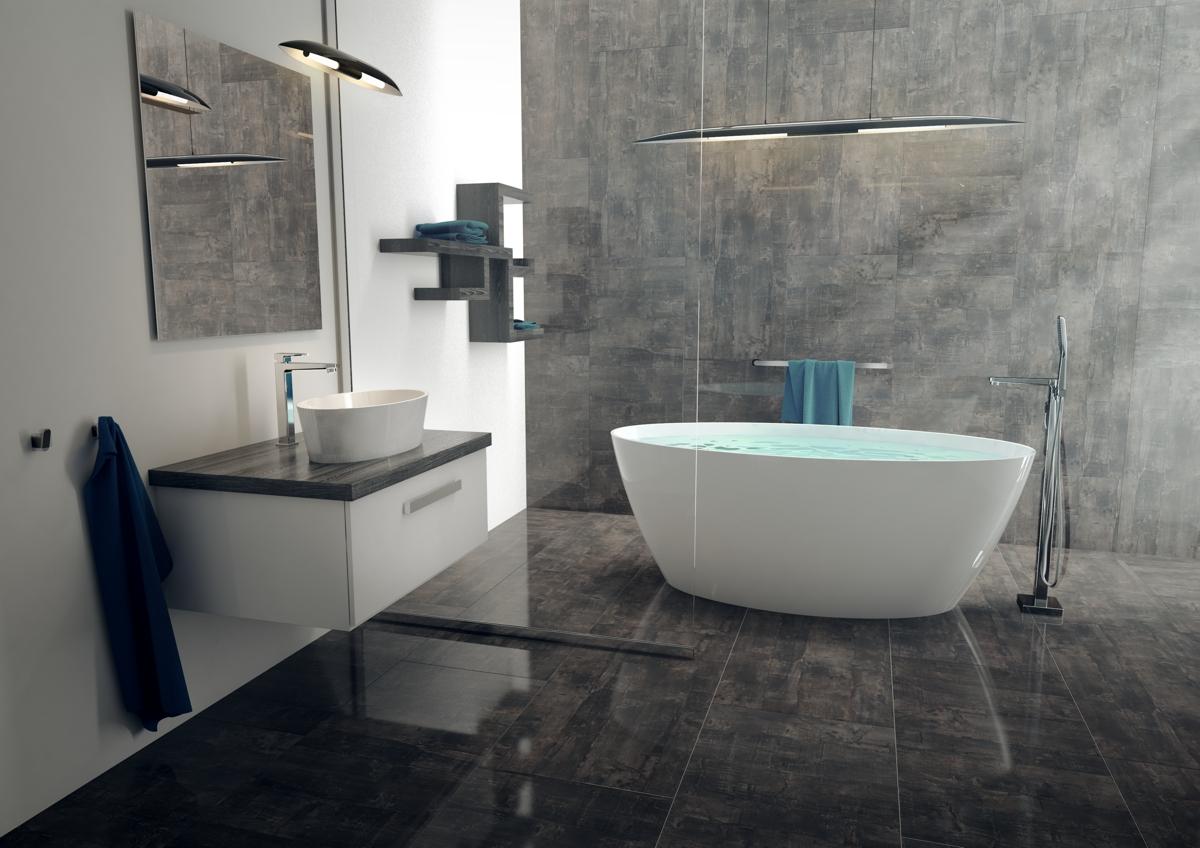 Festpreisbad Badideen Badewanne mit tiefhängender Beleuchtung 28